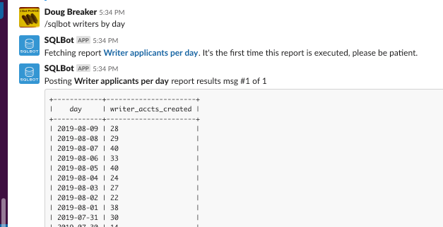 Easy Slack SQL Reporting (Scripted Behind the Scenes)