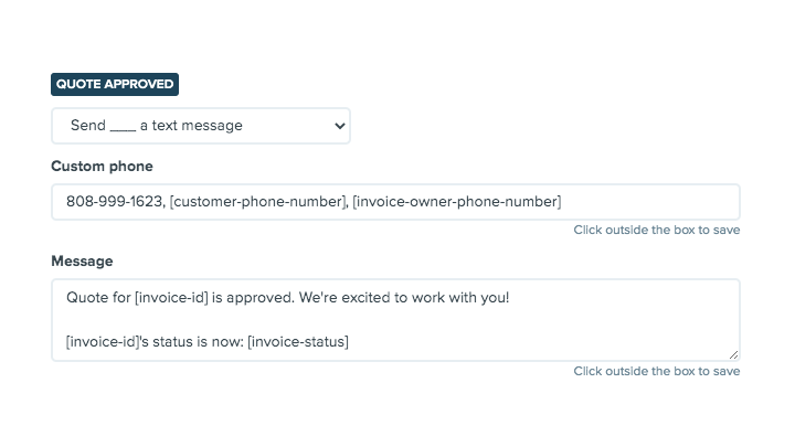 Printavo's Status Change Notification for multiple phone numbers.