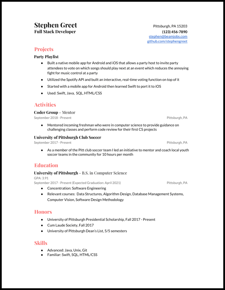 4 Computer Science Cs Resume Examples For 2020