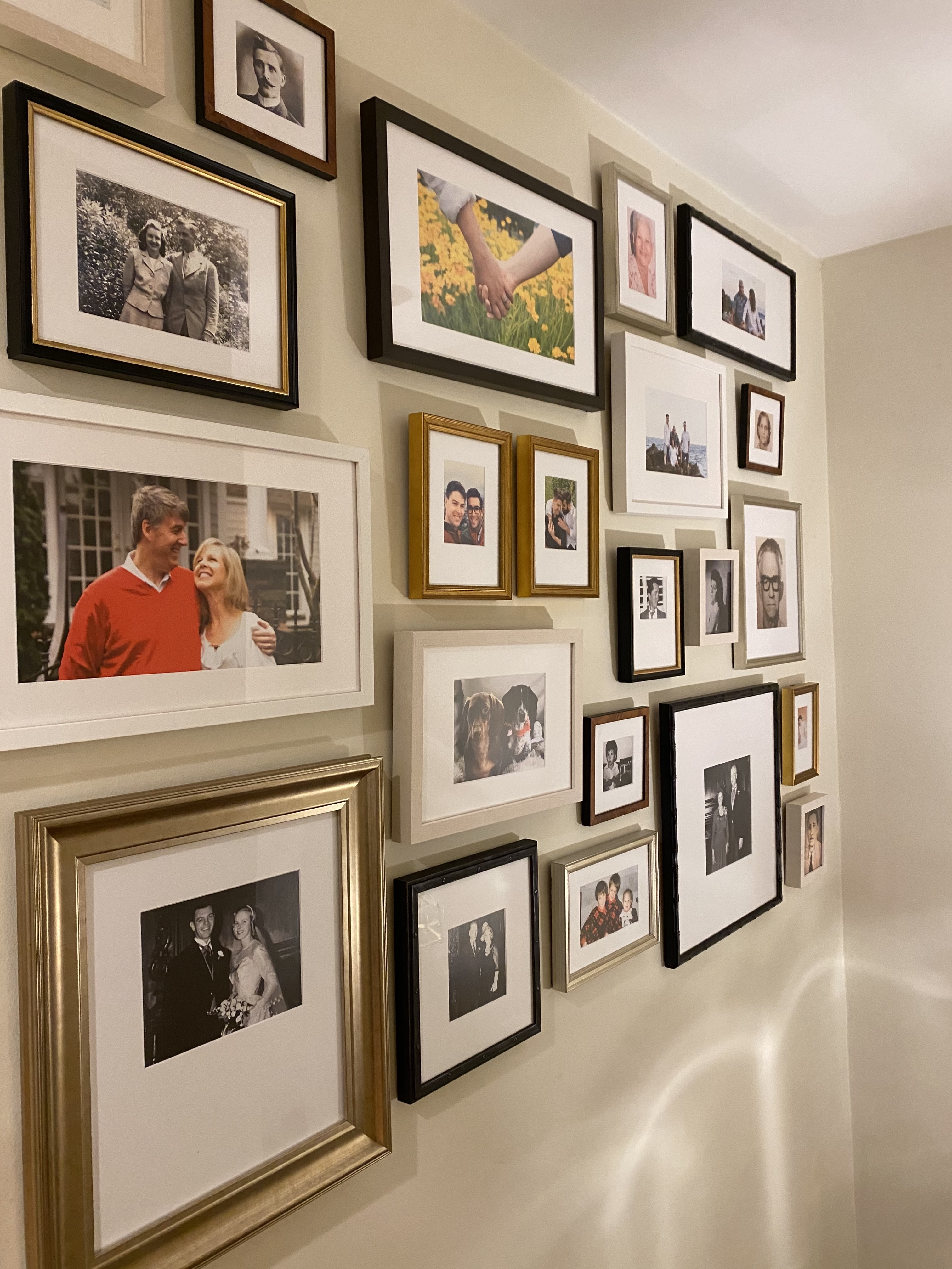 photo of gallery wall on stairs with family photos