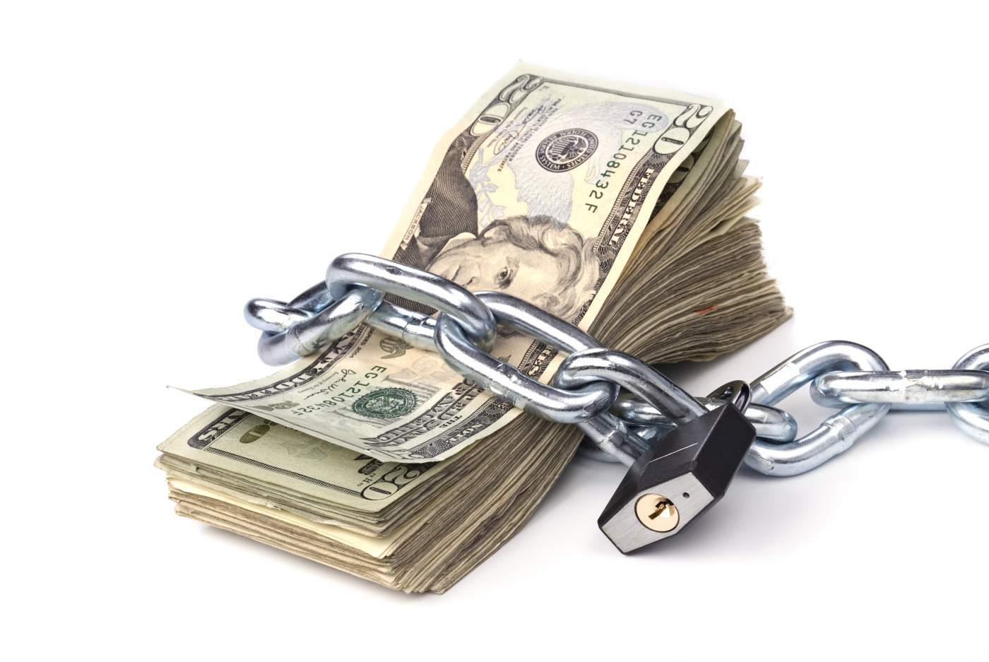 money chained up