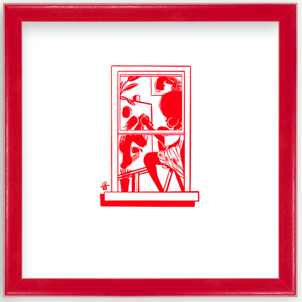 art print by Adrian Brandon in red frame