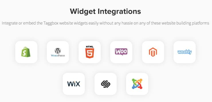 Taggbox widget integrations
