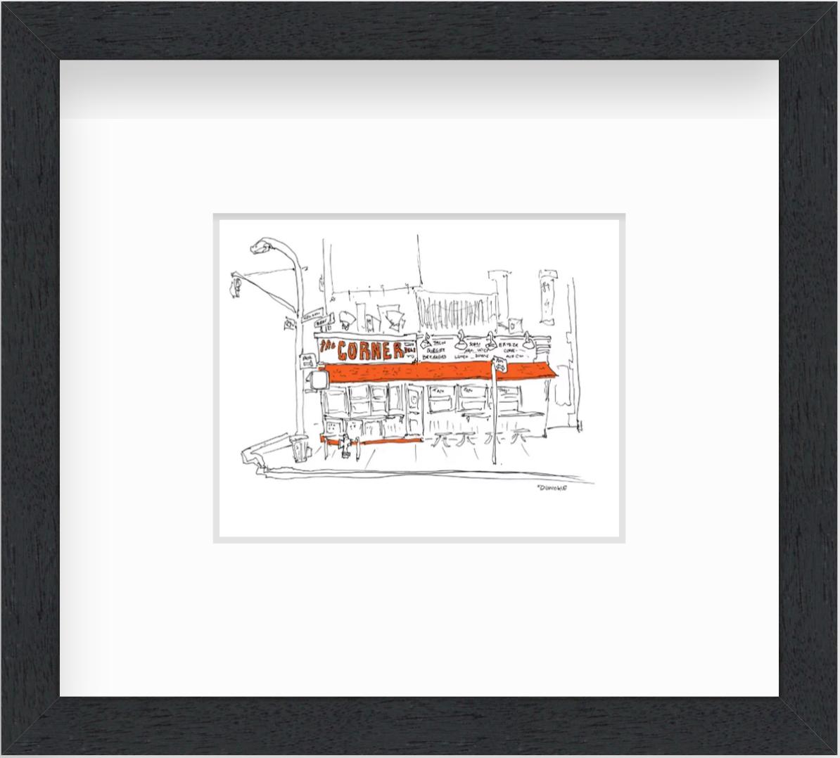 framed photo of restaurant drawing