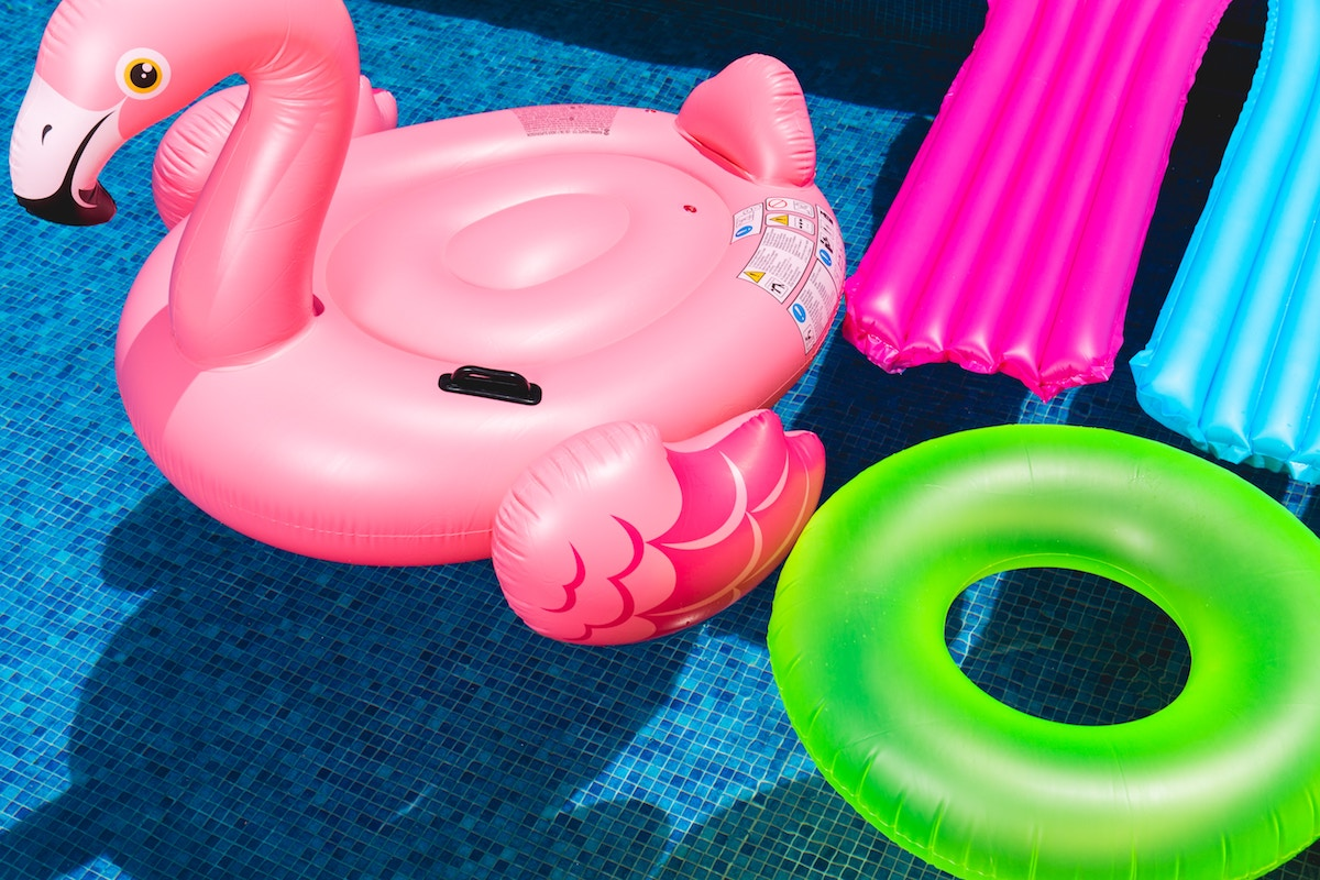Flamingo float in a pool