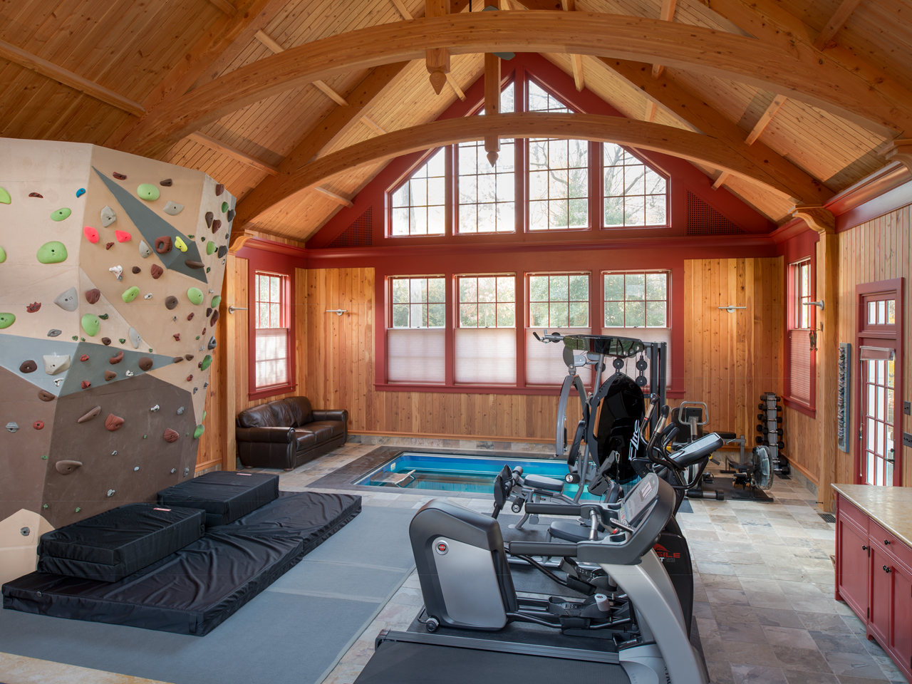 man cave with an Endless Pools swimming machine and other fitness equipment