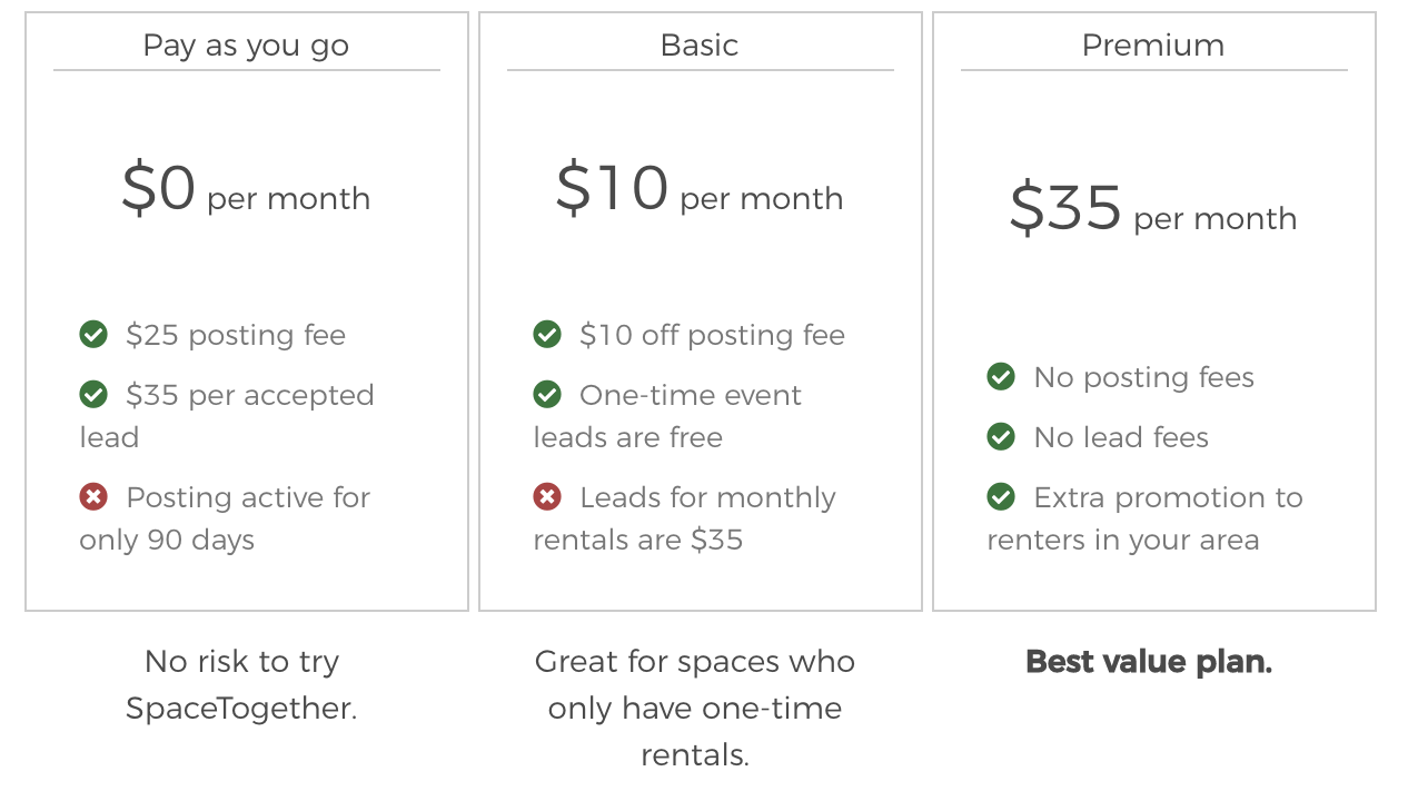 SpaceTogether Pricing Options