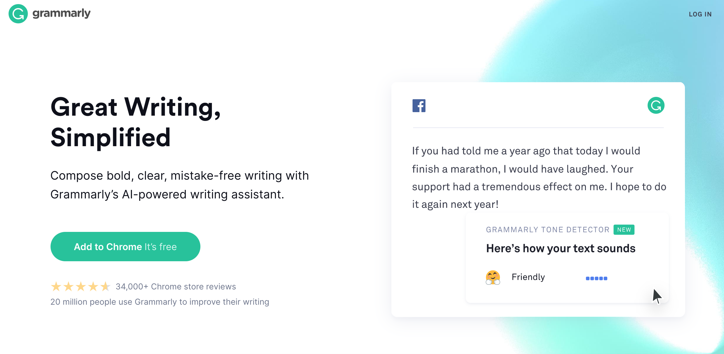 Screenshot of grammarly.com website that checks your English grammar, punctuation, writing style.