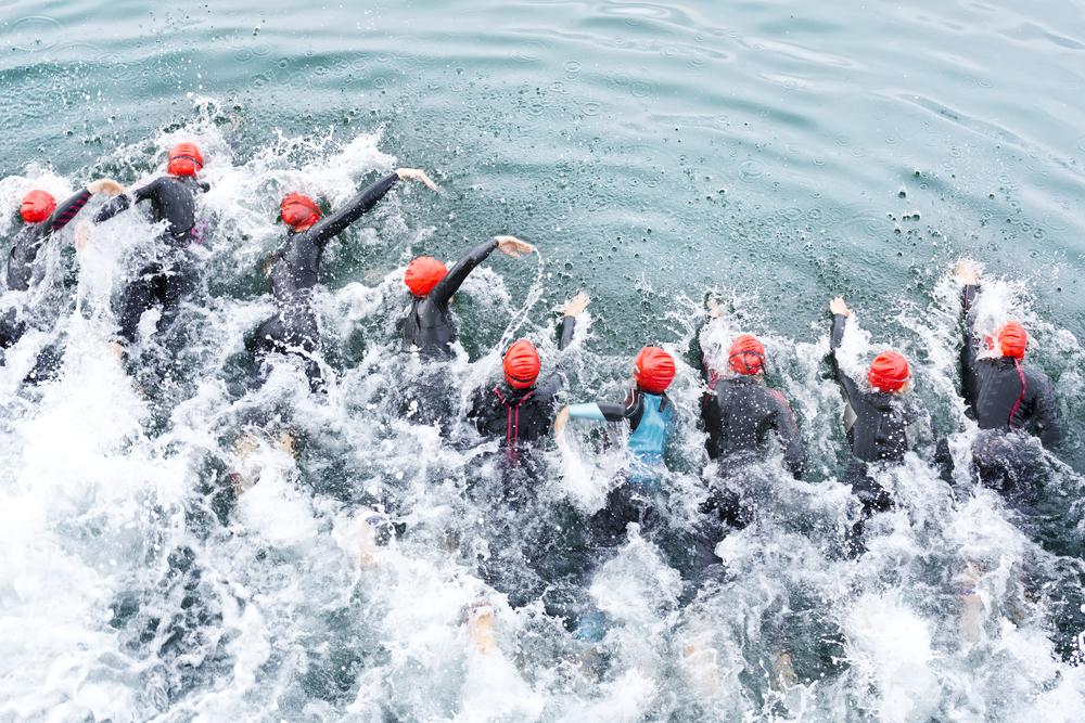 NYC triathlon swimmers
