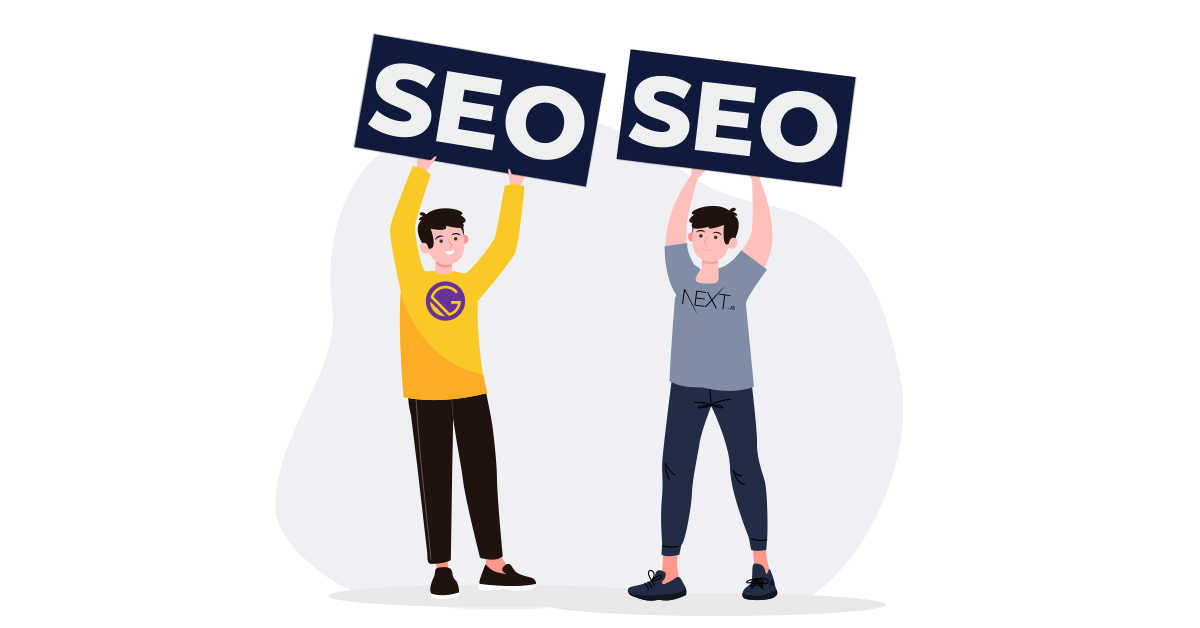 Illustration: Two people holding a sign that reads SEO.