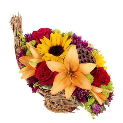 Floral cornucopia bouquet best selling Thanksgiving flowers