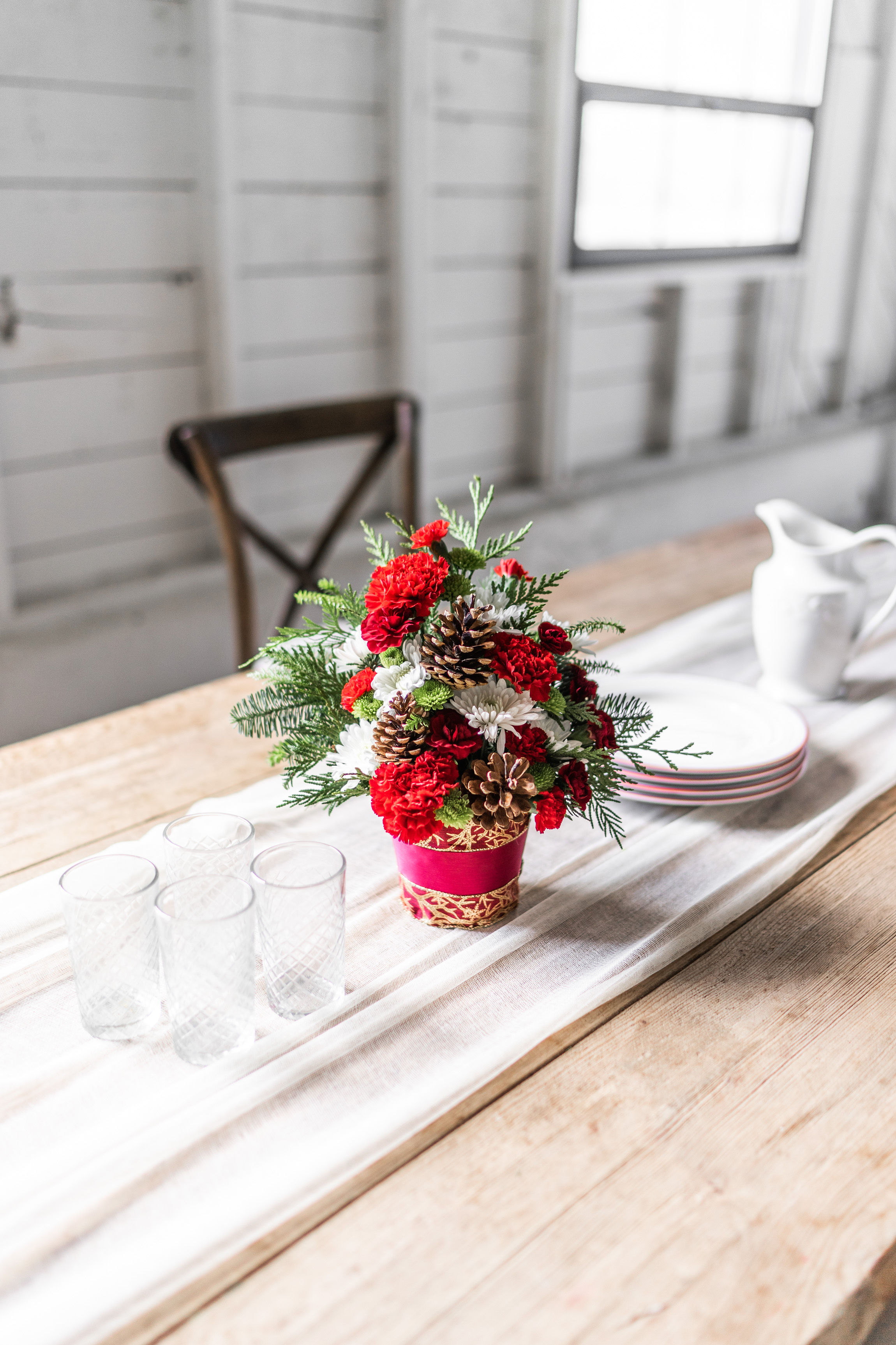 Cute Christmas Centerpiece with Carnations