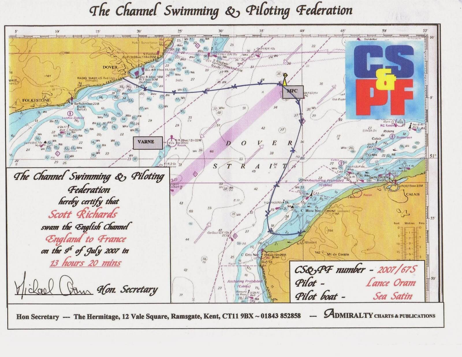 The map certifying Scott Richards' English Channel swim