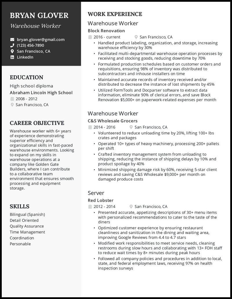Warehouse Worker resume with 7 years of experience