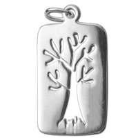 Sterling silver brushed finish tree charm