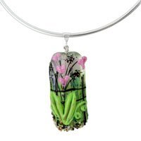 Pink Floral Glass Bead