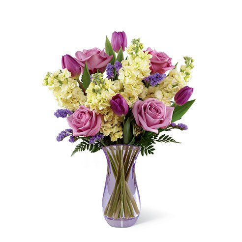 Purple roses and white flower stock bouquet birthday flowers for wife