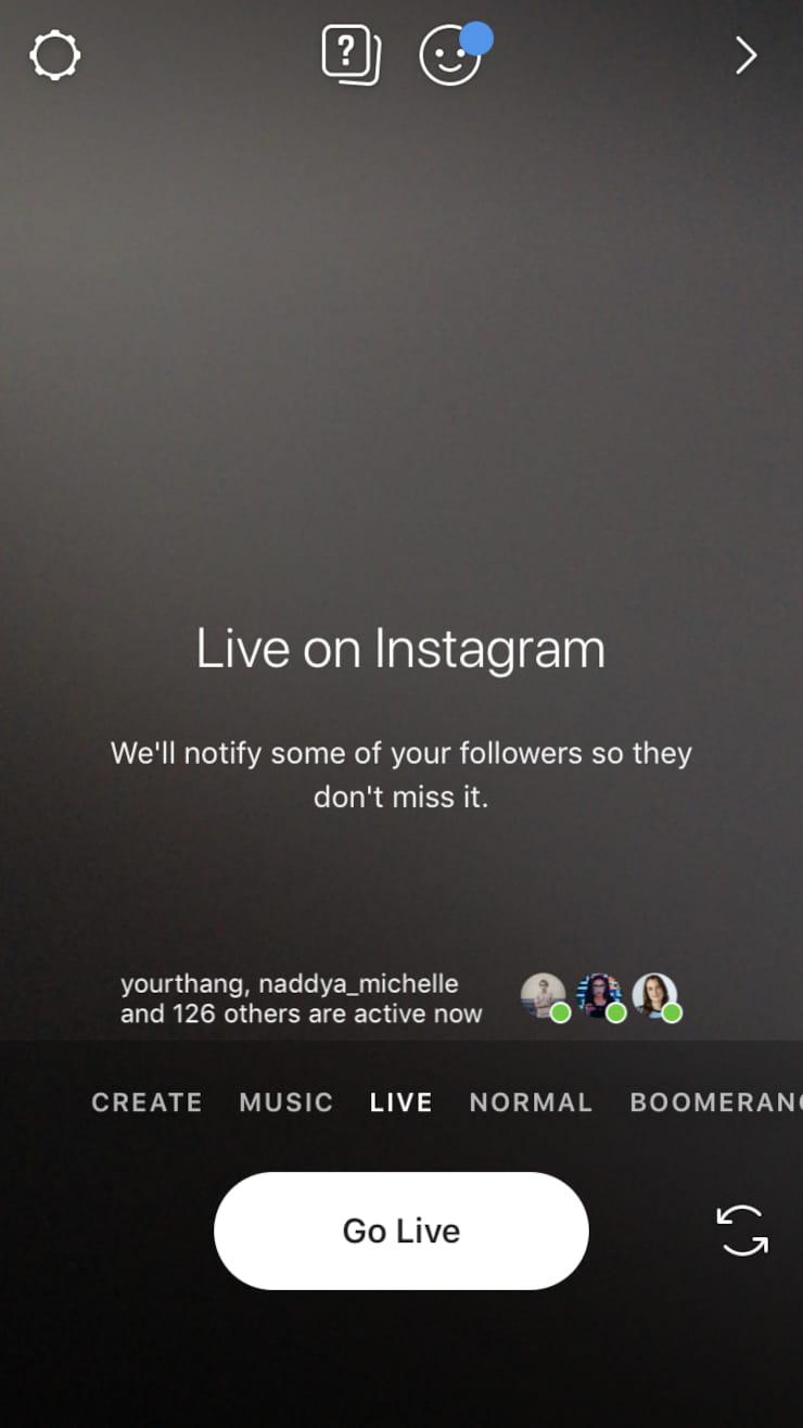 Instagram live screen