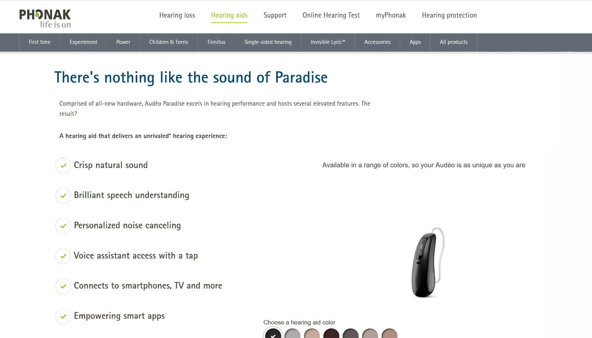 list of features of the Phonak Paradise 90 / R