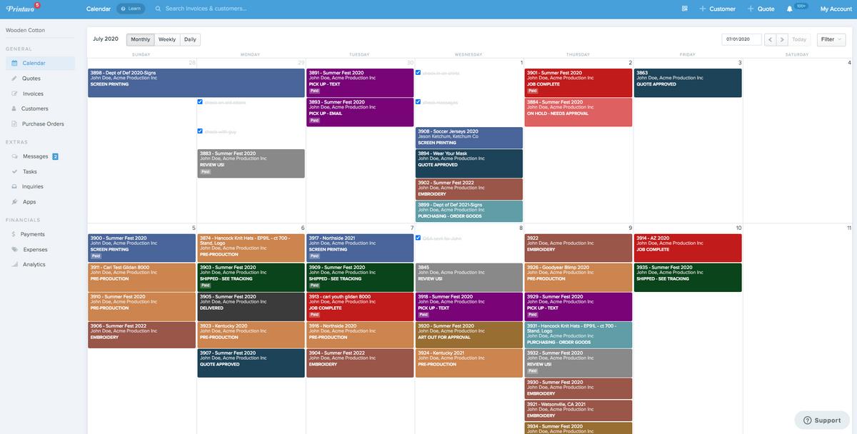Printavo's calendar