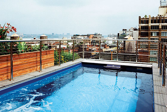 a rooftop Endless Pools swimming machine in New York's SoHo neighborhood