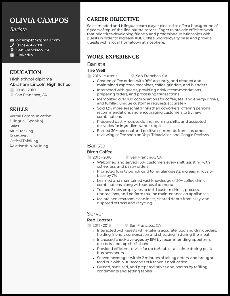 Barista resume with 8 years of experience