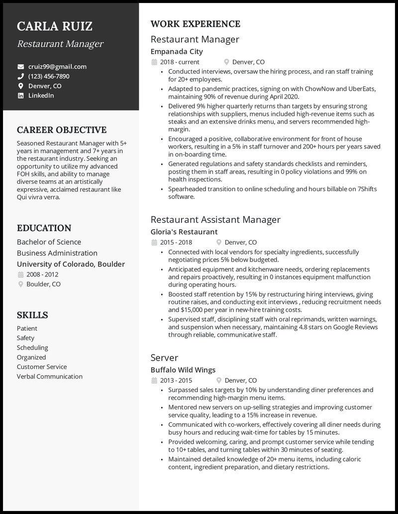 Restaurant manager resume with 5+ years of experience