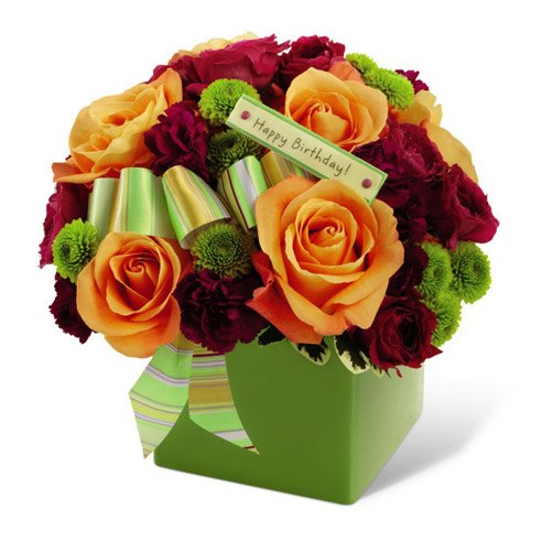 Orange rose red carnations happy birthday flowers for your wife