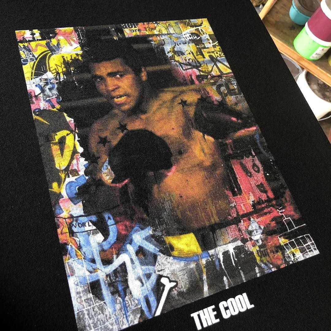 A screen printed shirt of Mohammed Ali by New Era Apparel in New York