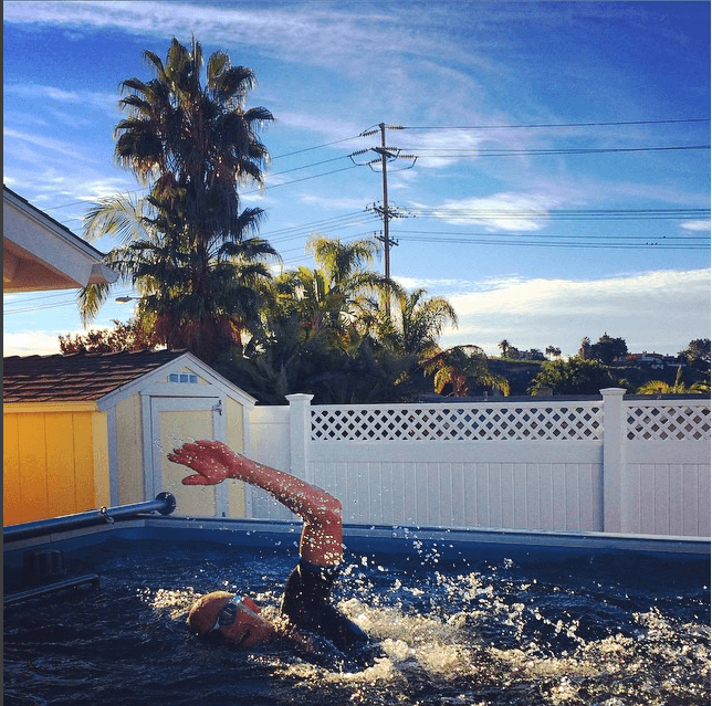 professional triathlete Luke McKenzie training in Endless Pools swimming machine