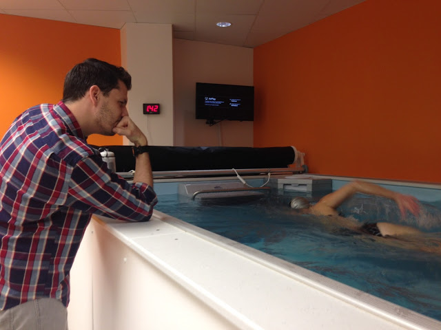 Coach Dominic Latella at the Endless Pool at his SwimBox studio