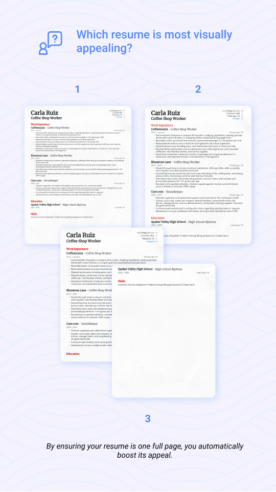 Comparison of full-page, not-a-full-page, and over-a-page resume
