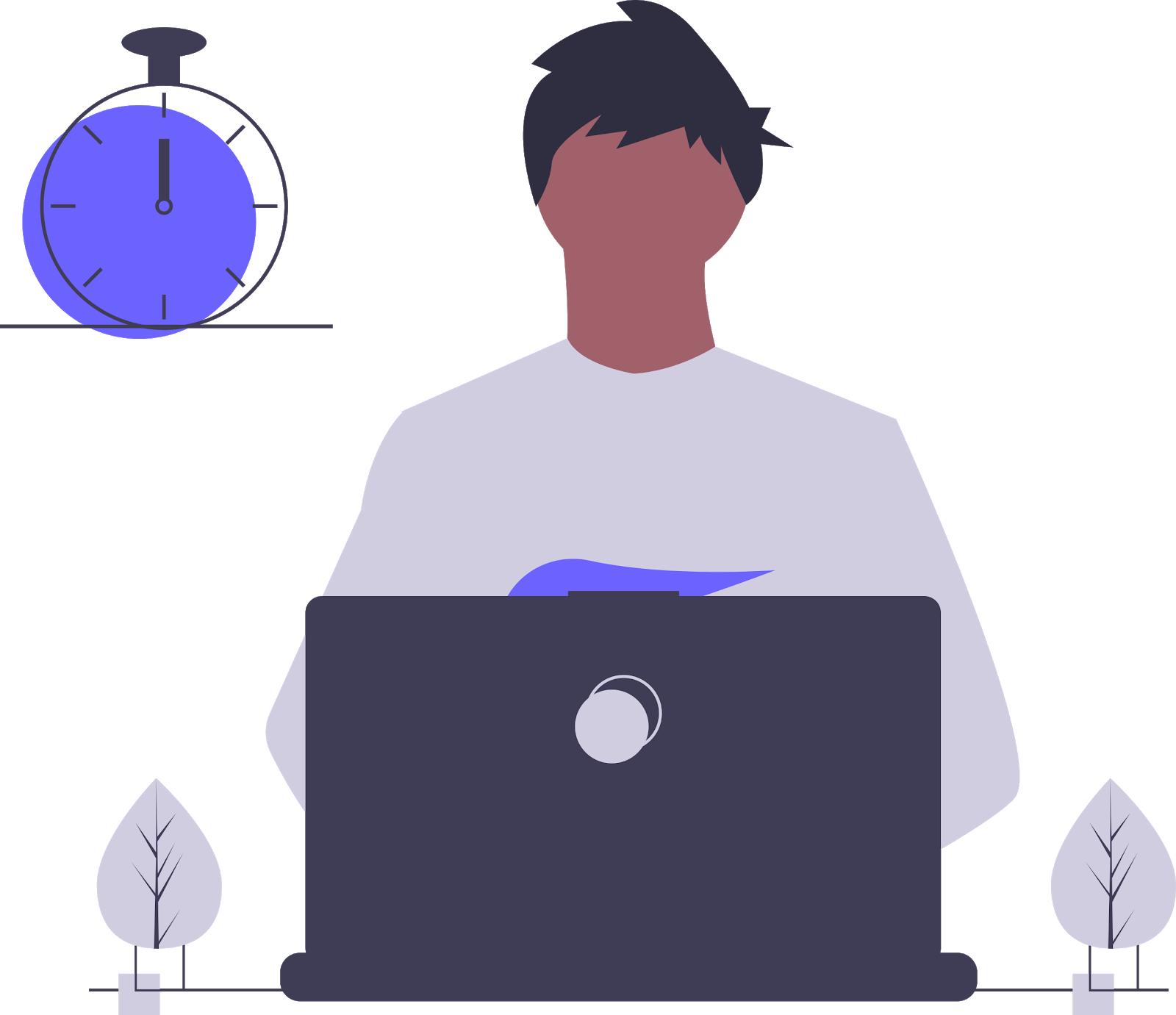 illustration of developer using buttercms and gridsome