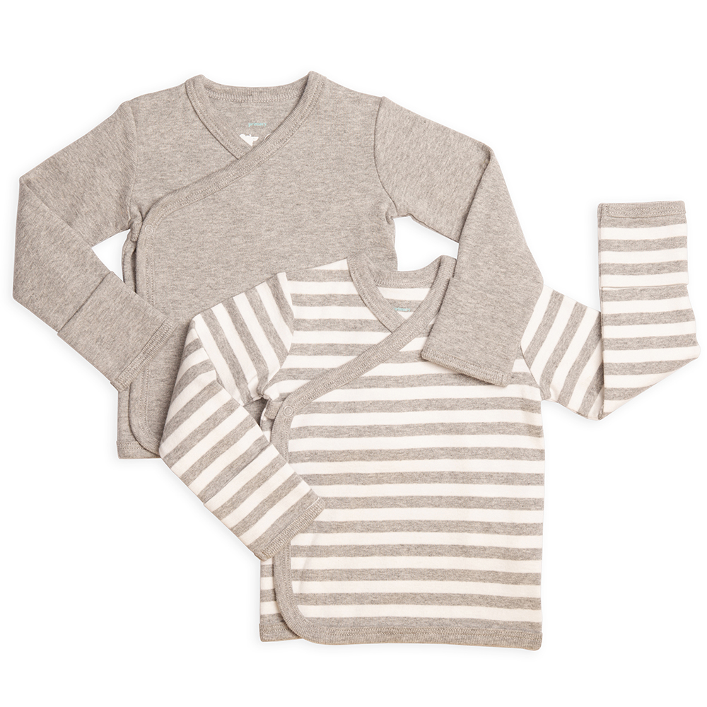 set of 2 side snap kimono wrap tops for baby in solid and stripe colors from Primary