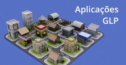 """Ilustração de uma maquete com várias residências e prédios comerciais com o escrito no canto superior esquerdo: """"Aplicações GLP""""."""