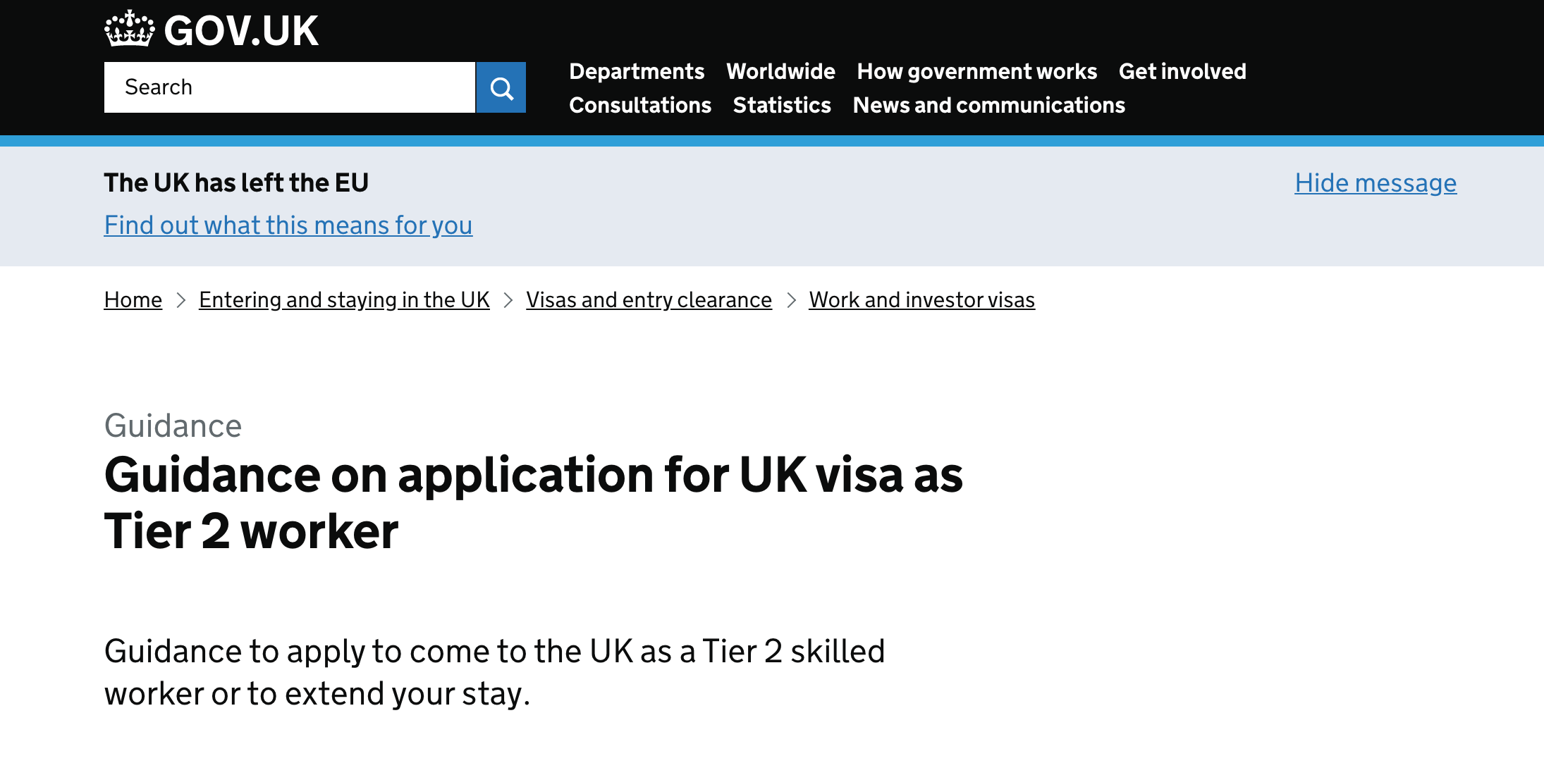 Screenshot of gov.uk website that has tier 2 visa guidance and details on tier 2 sponsorship.