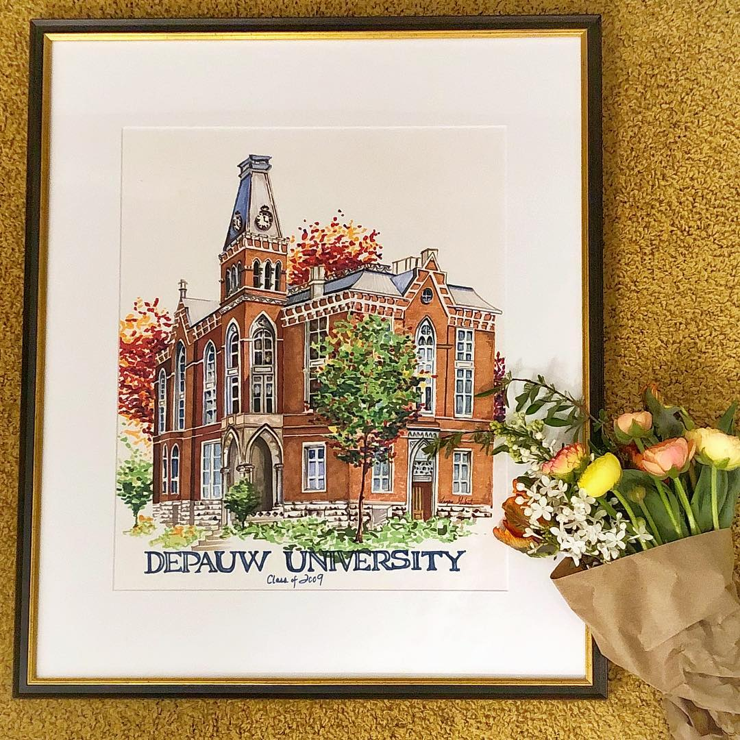 university painting in frame