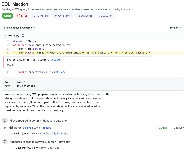 Mayhem for API results show as GitHub code scanning alerts