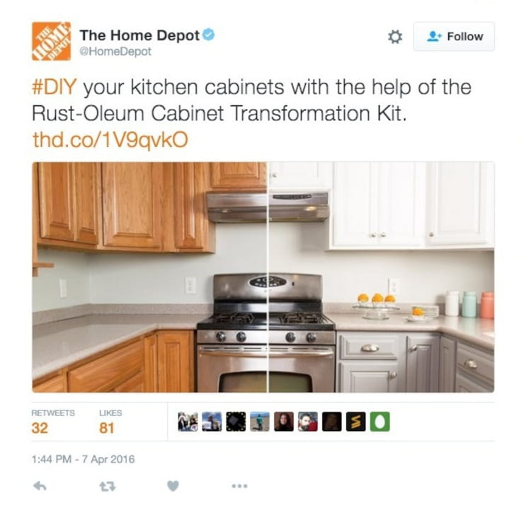 Home Depot sharing picture on Twitter