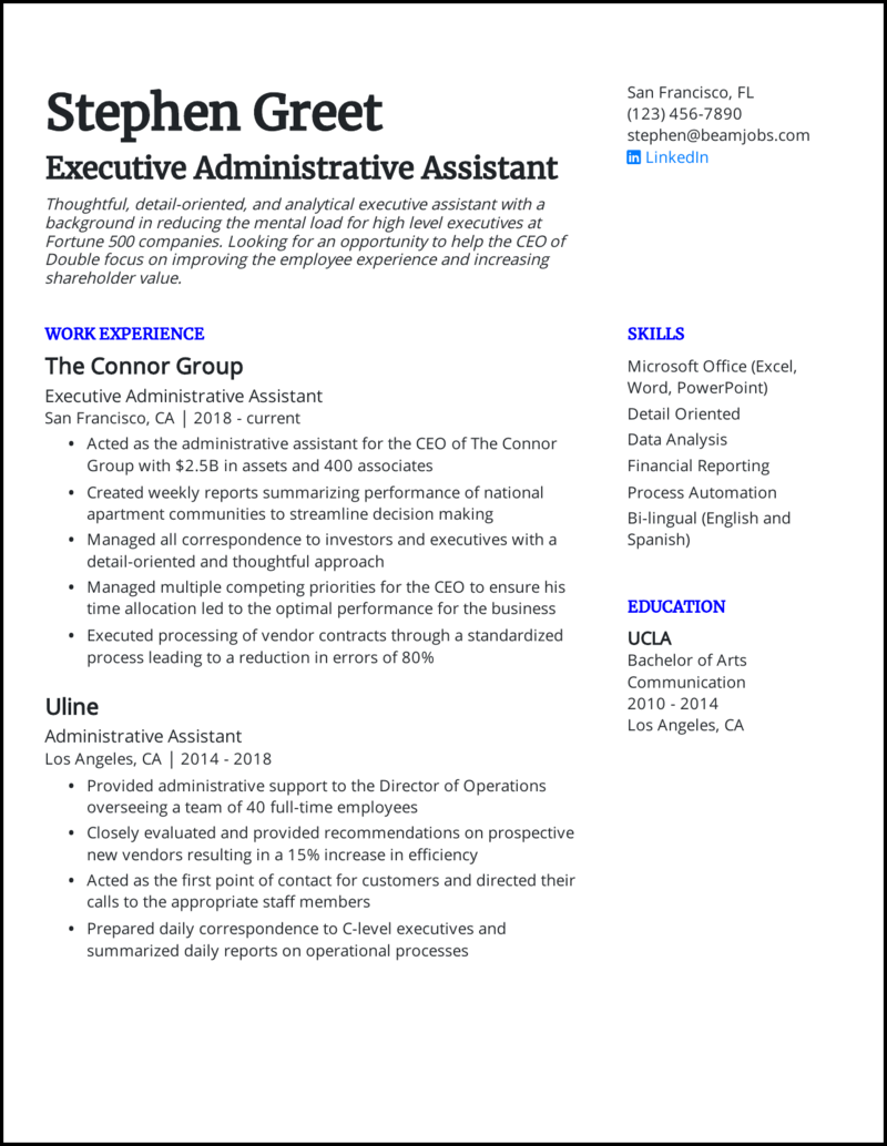 5 Administrative Assistant Resume Examples For 2020