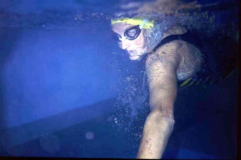 Professional triathlete Jan Wanklyn in her Endless Pools swimming machine