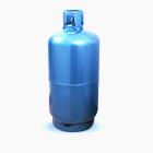 Ilustração de fundo branco com cilindro de gás em azul de 90KG