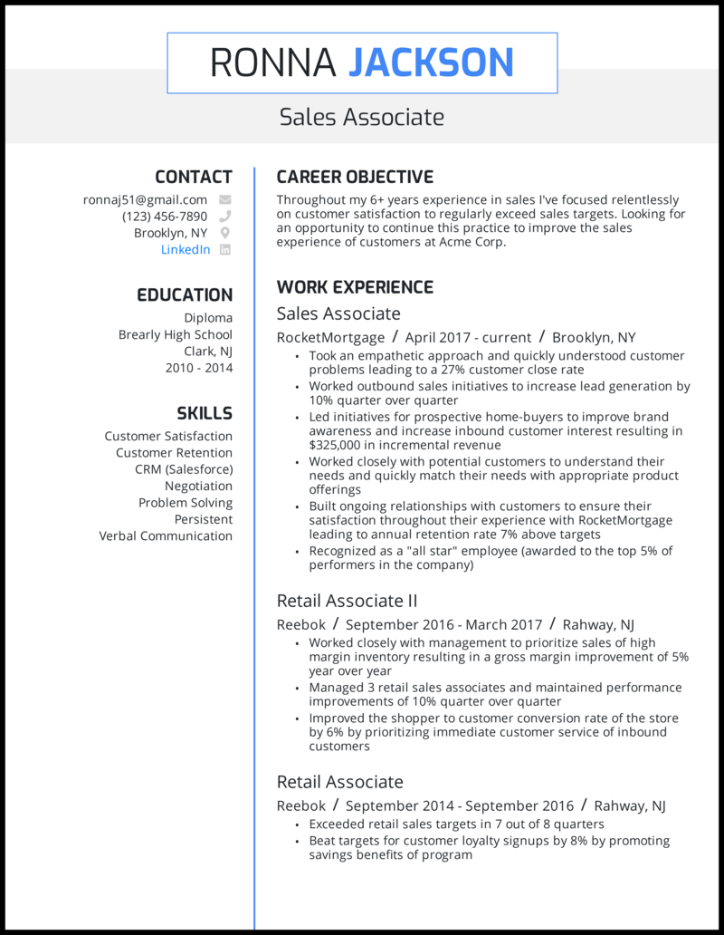 Sales associate resume with 5+ years of experience