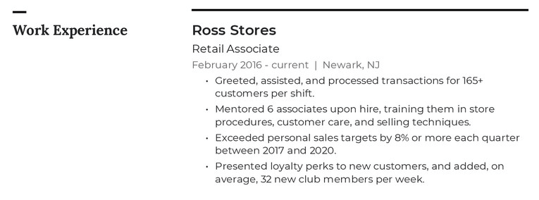Retail resume example with job descriptions