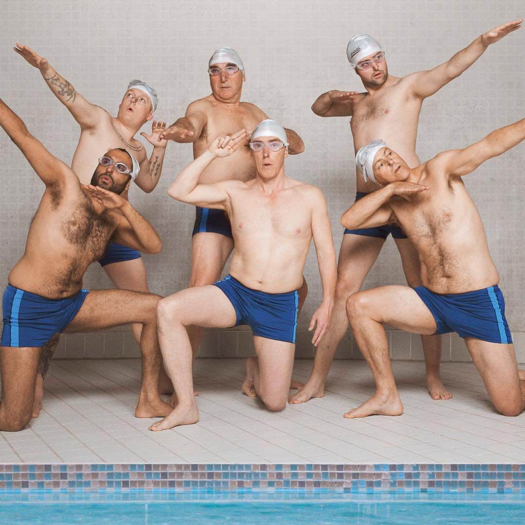 Rob Brydon and the cast of Swimming with Men