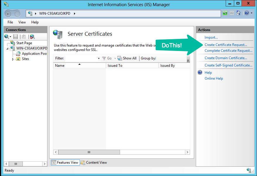 Generate CSR for IIS 7 & 7 5 Windows Server 2008