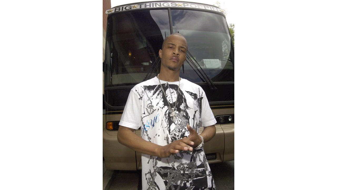 Rapper T.I. wearing Dominic Rosacci's screen printed t-shirts (Superior Ink)