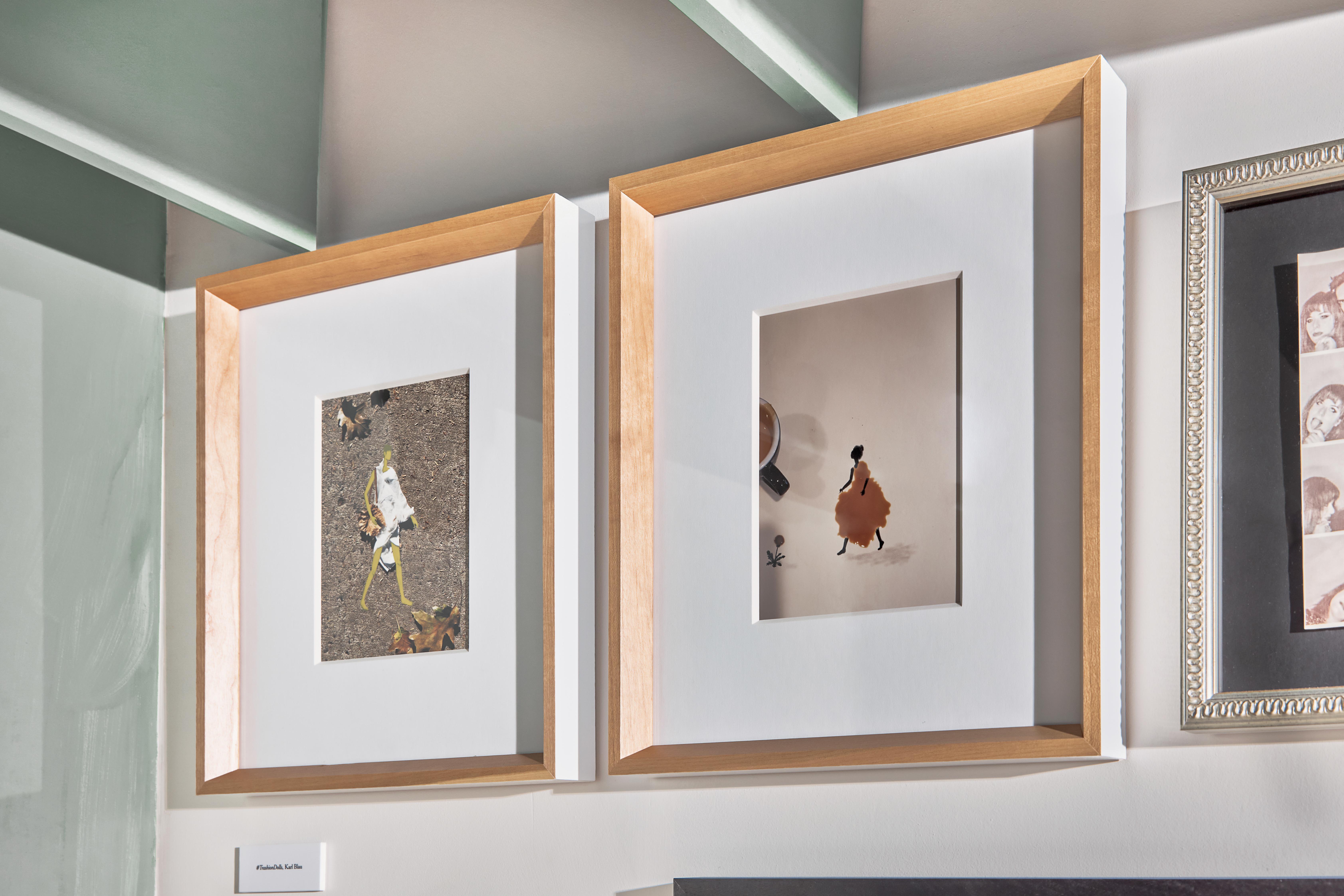 framed photos of trash as art