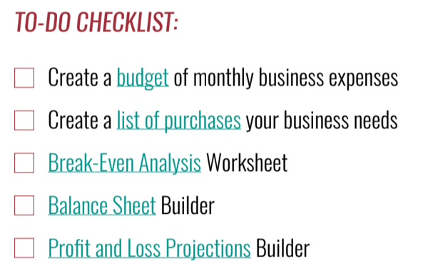 To Do Checklist example from toolkit