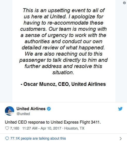 united airlines ceo response tweet